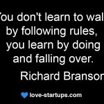 richard branson quote learn by falling over
